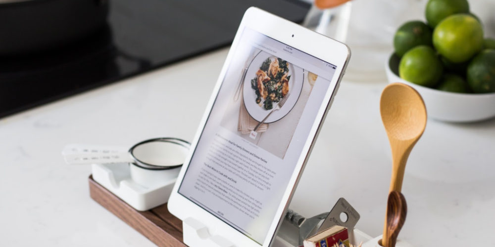 ipad with kitchen utensil stand