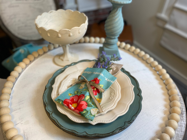 lazy susan craft with bead wreath repurposed painted decorative items and place setting with